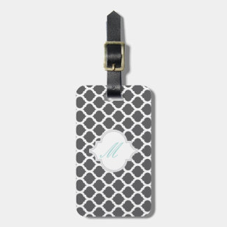 Grey Moroccan Pattern with Monogram Luggage Tags