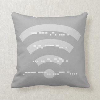 Grey Morse code design cushion 41cmx41cm