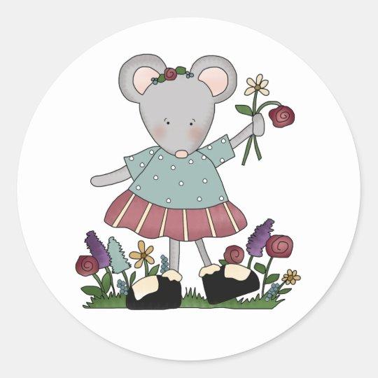 Grey Mouse in Flower Garden Classic Round Sticker