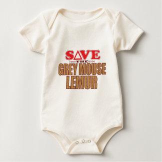 Grey Mouse Lemur Save Baby Bodysuit