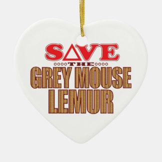 Grey Mouse Lemur Save Ceramic Heart Decoration