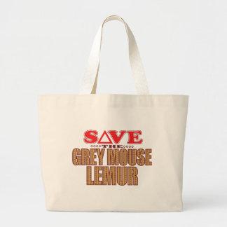 Grey Mouse Lemur Save Large Tote Bag