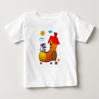 Grey Mouse Living in a Shoe House Baby T-Shirt