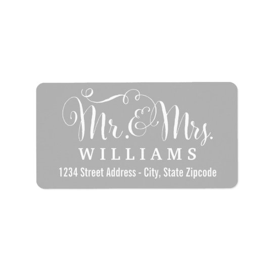 Grey Mr. & Mrs. Married Monogram Address Label