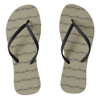 Grey Multi Color Flip Flops