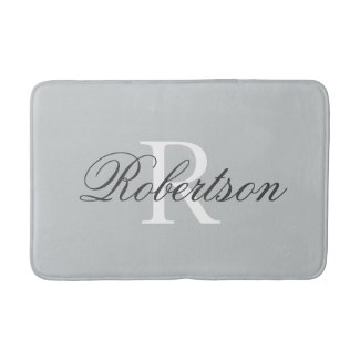 Grey name monogram bath mat | small medium large