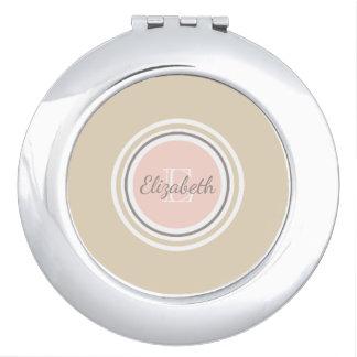 Grey Name & White Monogram Pink & Beige Mirror For Makeup