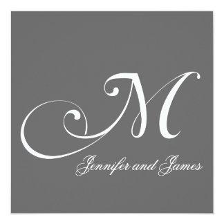 Grey Names Monogram M Wedding Invitations