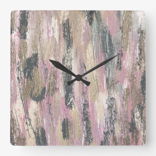 Grey, Natural, White and Pink Brushstrokes Square Wall