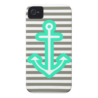 Grey Nautical Mint Anchor iPhone 4 Covers