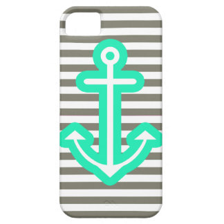 Grey Nautical Mint Anchor iPhone 5 Cases