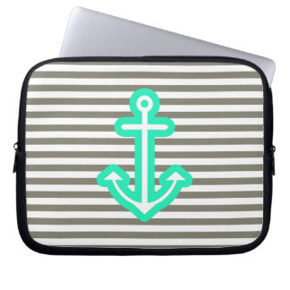 Grey Nautical Mint Anchor Laptop Sleeve