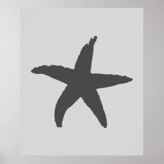Grey Nautical Sea Star Poster