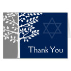 Grey Navy Blue Tree of Life Bar Mitzvah Thank You Card