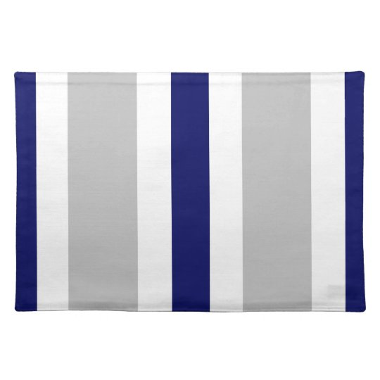 Grey Navy Blue & White Stripe Placemat Gift