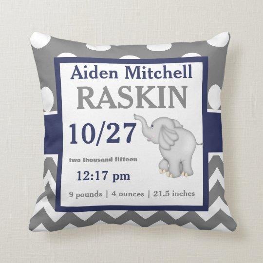 Grey Navy Elephant Baby Announcement Pillow