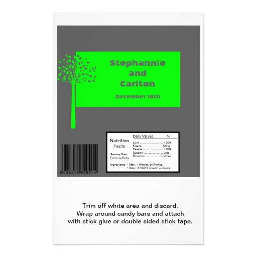 Grey/Neon Green Tree Wedding Large Candy Wrapper Personalized Flyer