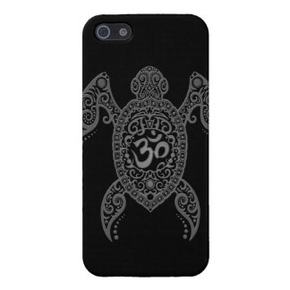 Grey Om Sea Turtle on Black iPhone 5 Covers