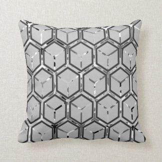 Grey on Grey Inlay Honeycomb Pattern Throw Pillow Cushion