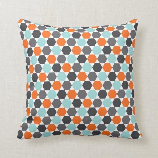 Grey orange aqua blue geometric hexagon pattern cushion