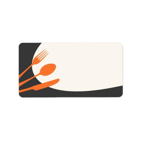 Grey orange blank modern canning baking kitchen address label