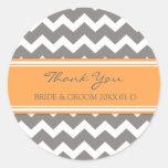 Grey Orange Chevron Thank You Wedding Favour Tags Round Sticker