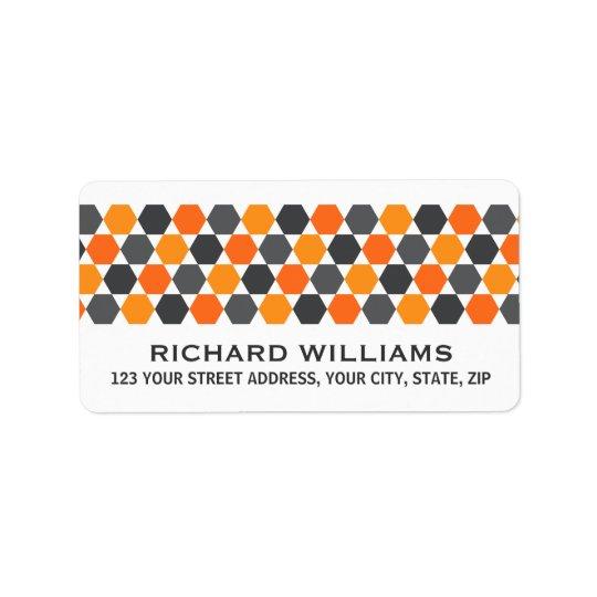 Grey orange hexagon border return address address label