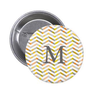Grey Orange Layered Chevron 6 Cm Round Badge