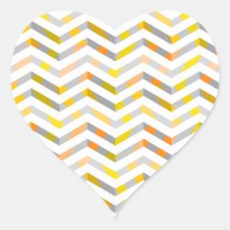 Grey Orange Layered Chevron Heart Sticker