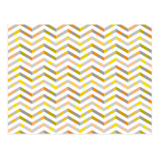 Grey Orange Layered Chevron Postcard