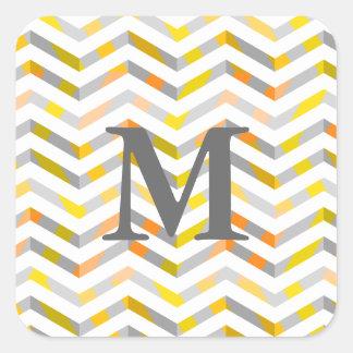 Grey Orange Layered Chevron Square Sticker