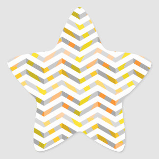 Grey Orange Layered Chevron Star Sticker