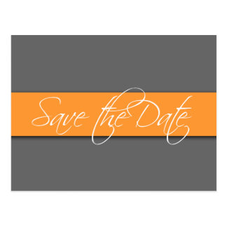 Grey Orange Save the Date Postcards Wedding