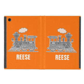 Grey orange steam train kids name ipad mini case