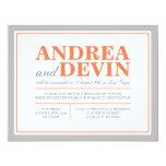 Grey & Orange Wedding Reception ONLY Invitations