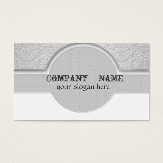 Grey Oval Elegant Business Cards