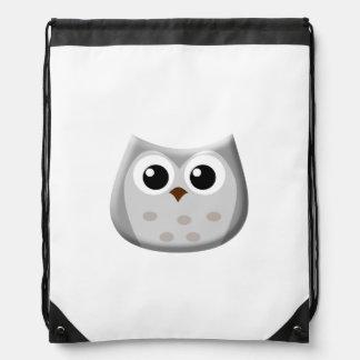 Grey Owl Drawstring Backpack