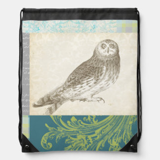 Grey Owl on Pattern Background Drawstring Bag