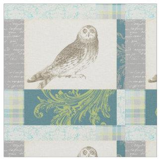 Grey Owl on Pattern Background Fabric