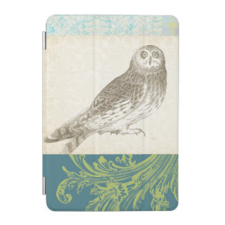 Grey Owl on Pattern Background iPad Mini Cover