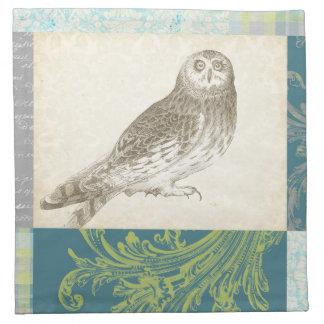 Grey Owl on Pattern Background Napkin