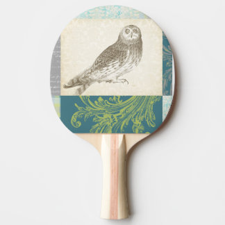 Grey Owl on Pattern Background Ping Pong Paddle