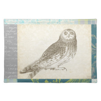 Grey Owl on Pattern Background Placemat