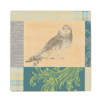 Grey Owl on Pattern Background Wood Coaster