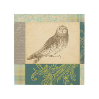Grey Owl on Pattern Background Wood Print