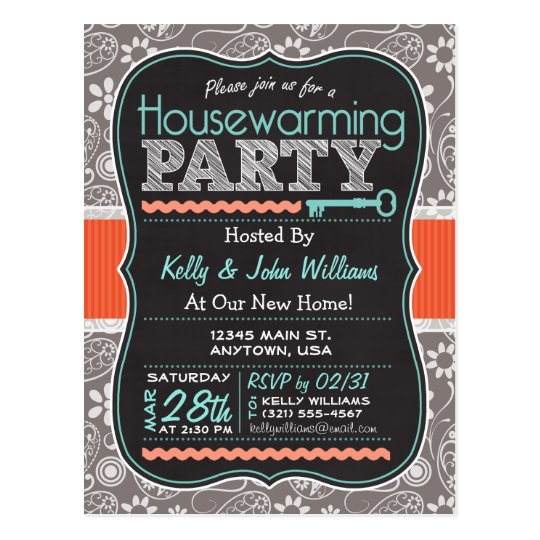 Grey Paisley; Chalkboard Housewarming Party Postcard