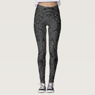 Grey Paisley Leggings