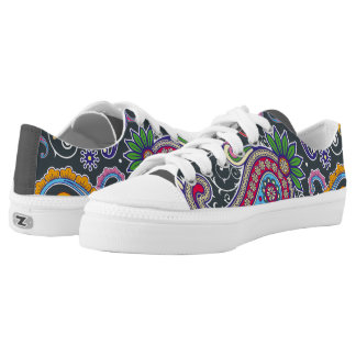 Grey Paisley Pattern Low Top Shoes Printed Shoes