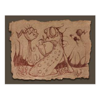 Grey Paper Sketch Swamp Thing Postcard