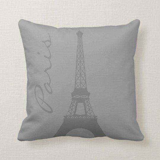 Grey Paris Eiffel Tower Throw Pillow